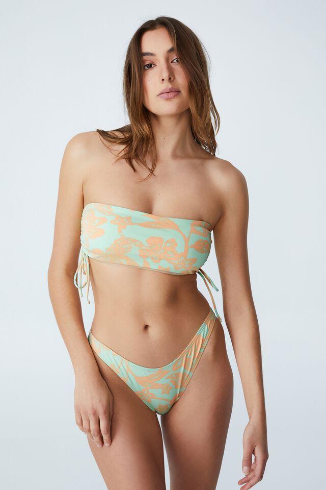 Side Gathered Midi Bandeau Bikini Top, HIBISCUS VINE MINT CHIP