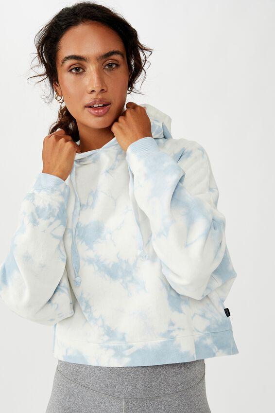 Cropped Fleece Hoodie, BLUE TIE DYE