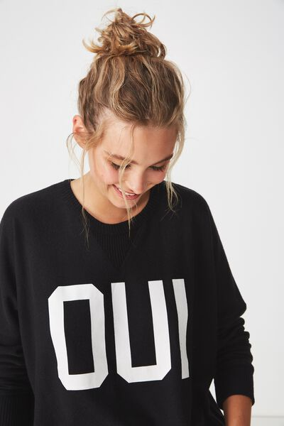 Super Soft Relaxed Lounge Crew, BLACK/OUI