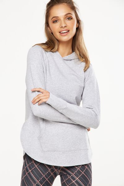 Long Sleeve Chia Hood Top, GREY MARLE