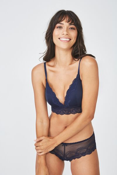 Smooth Lace Longline Wirefree Bra, MIDNIGHT