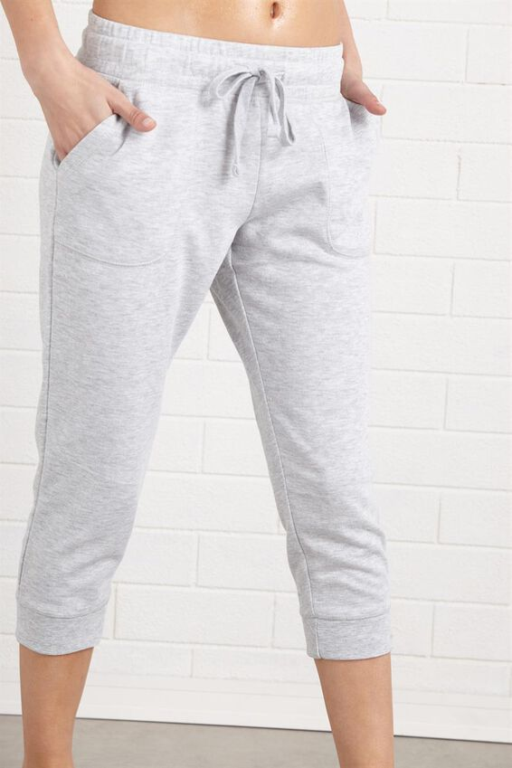 Cropped Gym Track Pants, CLOUDY GREY MARLE