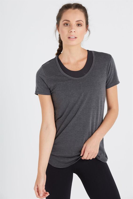 Gym T Shirt, CHARCOAL MARLE