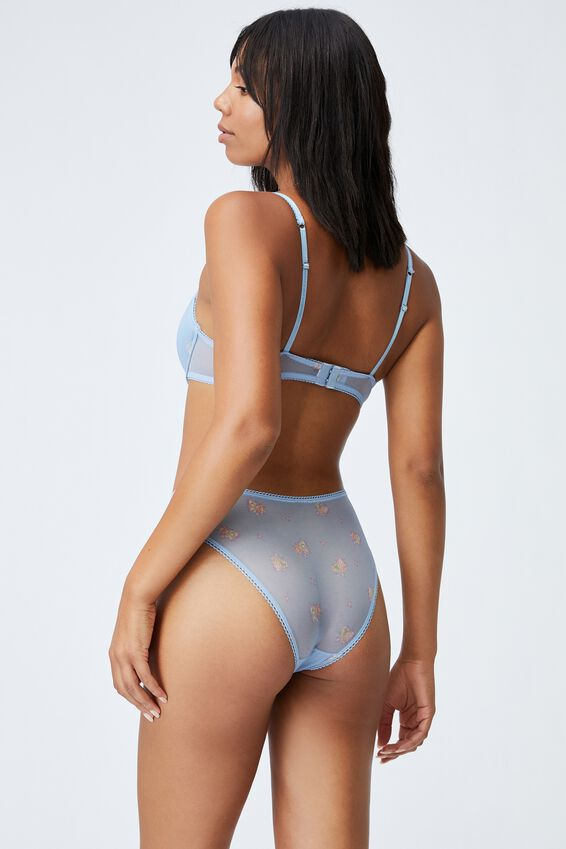 We Just Mesh High Cut Cheeky Bikini Brief, FLORAL LACE BLUE BIRD