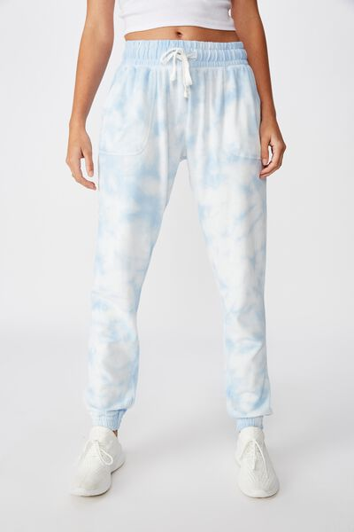 Washed Gym Trackpant, BLUE TIE DYE