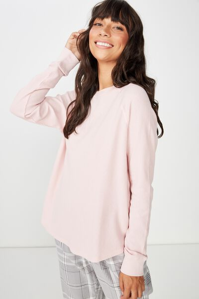 Waffle Crew Long Sleeve Top, CORAL BLUSH