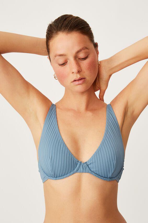 Half Wire Bralette Bikini Top, BLUESTONE RIB