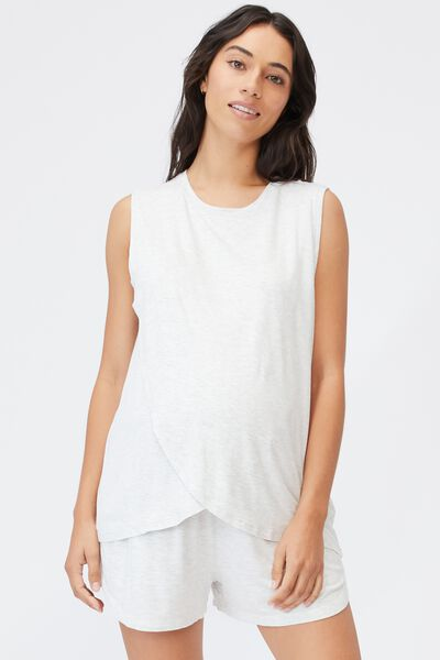 Sleep Recovery Maternity Tank, SOFT GREY MARLE