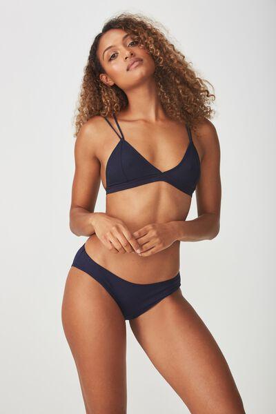 Cotton Flat Elastic Bikini Brief, MIDNIGHT