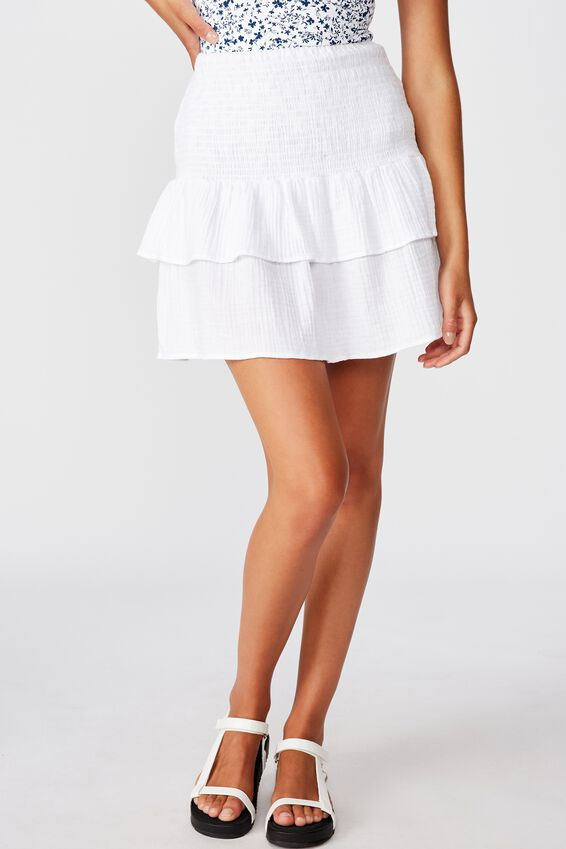 Shirred Tiered Beach Skirt, WHITE