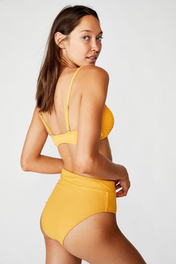 Highwaisted Banded Cheeky Bikini Bottom, SPICY MUSTARD RIB