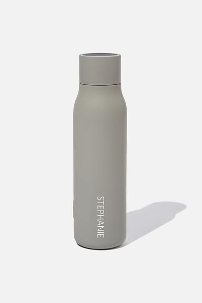 Personalised Hydrate Me Drink Bottle, CHARCOAL
