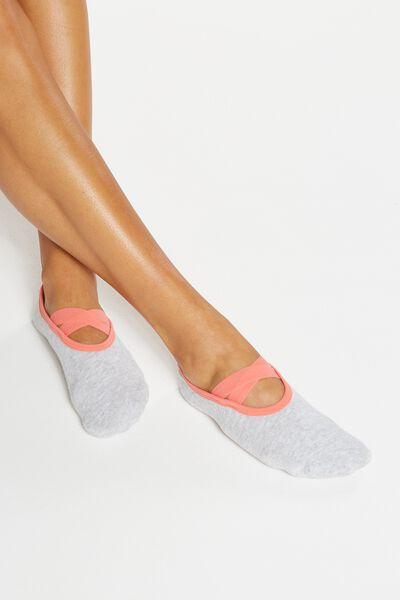 Yoga Grip Sock, GREY MARLE/MELON