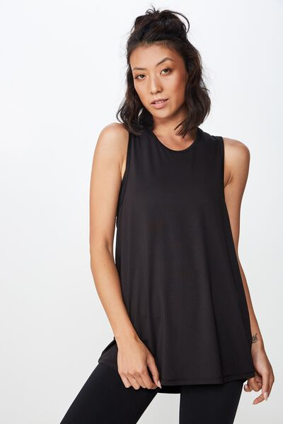 Open Back Strappy Tank, BLACK