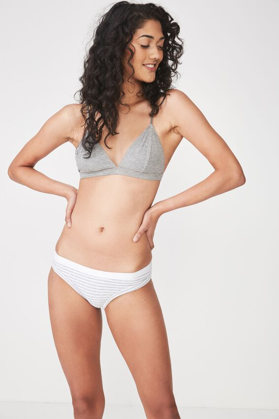 Cotton Bind Bikini Brief, LIGHT GREY MARLE STRIPE
