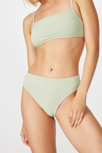 Highwaisted Banded Cheeky Bikini Bottom, SAGE CRINKLE
