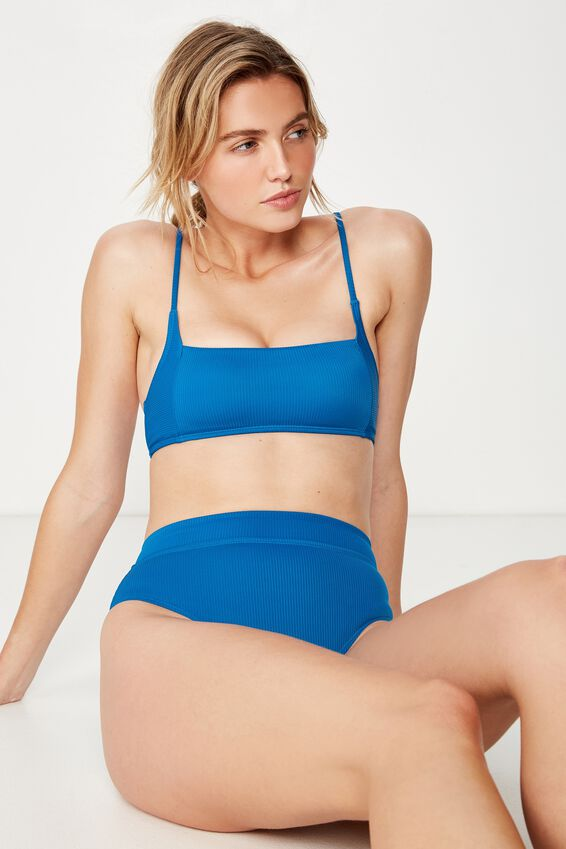 Square Neck Bralette Bikini Top, SEAPORT RIB