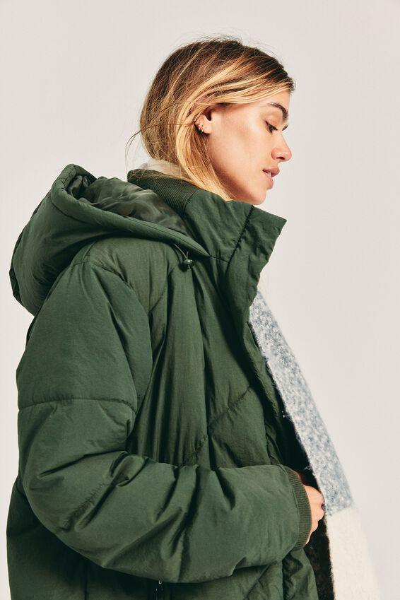 The Mother Longline Puffer Jacket, KHAKI