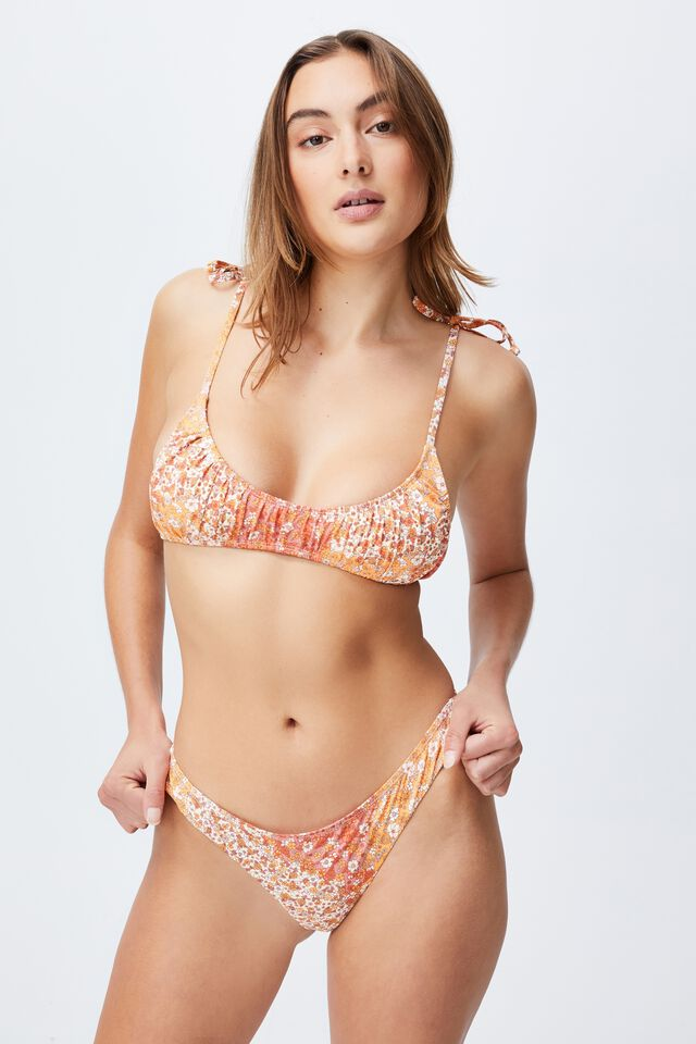 Gathered Scoop Crop Bikini Top, PATCHWORK DITSY ORANGE