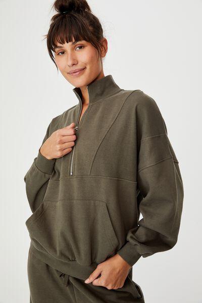 Lifestyle Half Zip Fleece Top, DEEP MOSS