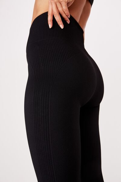 Lifestyle Rib Seamless Tight, BLACK