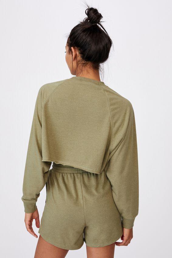 Lifestyle Crop Raglan Fleece, OREGANO MARLE