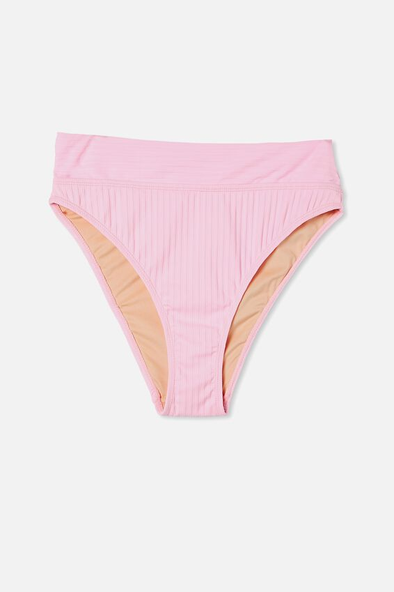 Highwaisted Cheeky Bikini Bottom, STRAWBERRY RIB