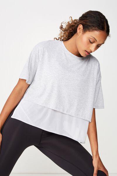 Layered Rib Tshirt, GREY MARLE