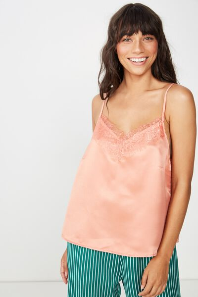 Satin Woven Cami, CANYON CLAY