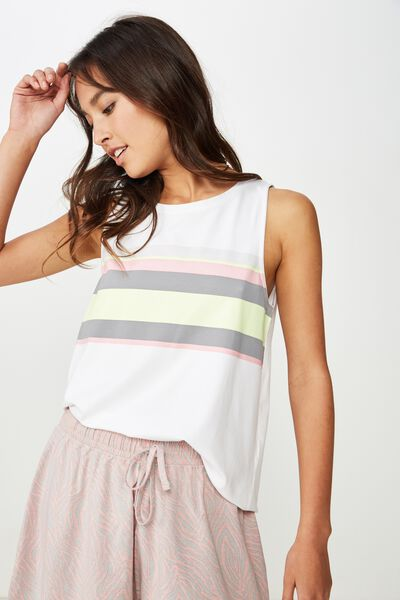 Boxy Tank Top, WHITE/STRIPE COLOUR BLOCK