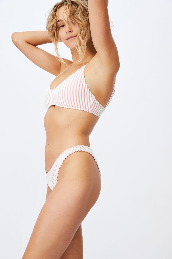 Refined High Side Brazilian Bikini Bottom Terry, PALE PINK TERRY STRIPE