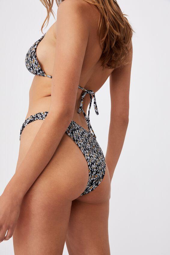 Refined High Side Brazilian Bikini Bottom, DAISY GARDEN BLACK SHIRRED