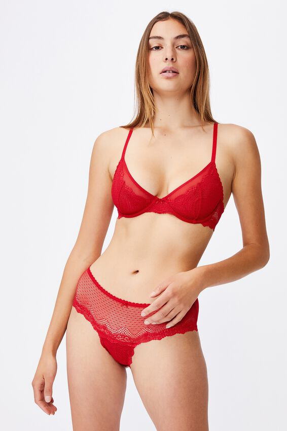 Stevie Lace Fixed Cup Wirefree Bra, TRUE RED