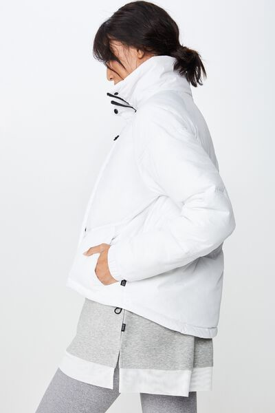 Hiking Puffer Jacket, WHITE