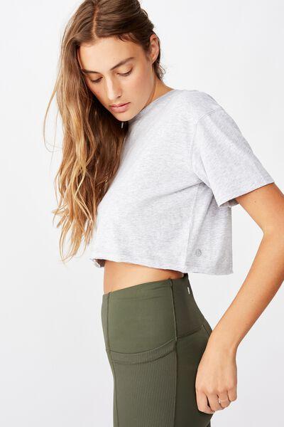 Active Cropped Tshirt, GREY MARLE