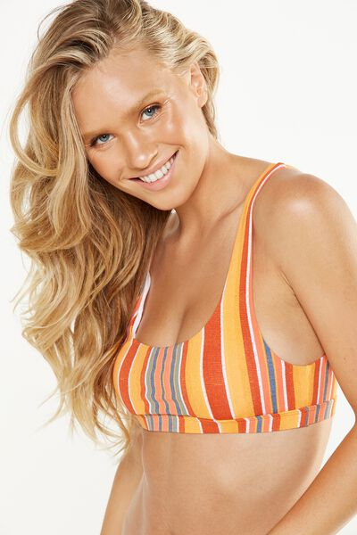 Scoop Bralette Bikini Top, SUNRISE STRIPE