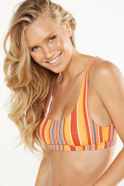 Scoop Bralette Bikini Top, SUNRISE STRIPE