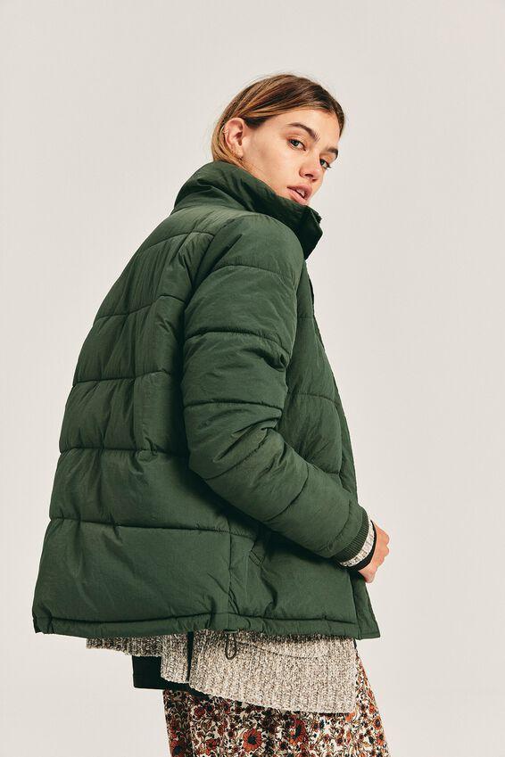 The Mother Puffer Jacket, KHAKI