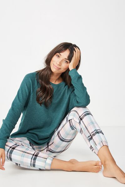 Waffle Crew Long Sleeve Top, JOLLY GREEN MARLE