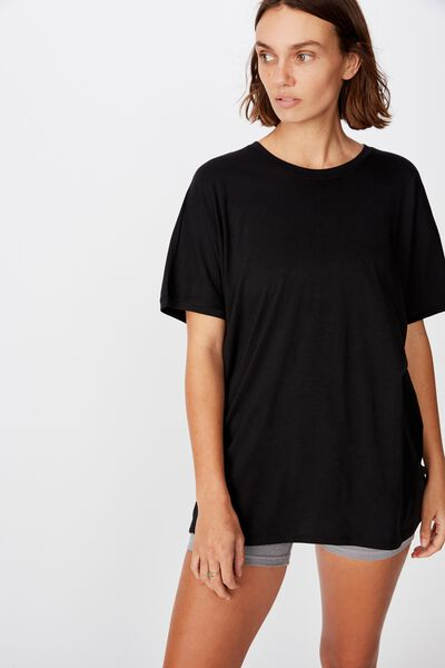 Longline Tie Back T Shirt, BLACK