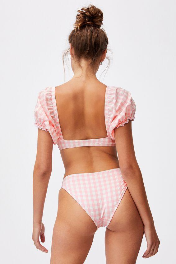 Puff Sleeve Knot Bikini Top Gingham, PALE PINK GINGHAM