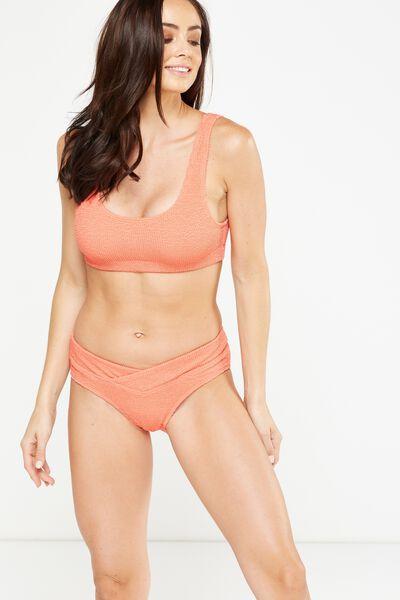 Crinkle Wrap Hipster Cheeky Bikini Bottom, SPICED CORAL