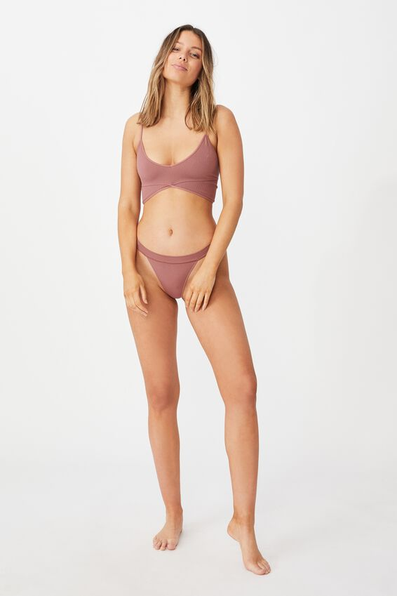 Seamless Rib Ballet Bralette, DUSTY ROSE
