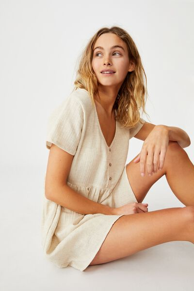 Button Up Beach Dress, NATURAL