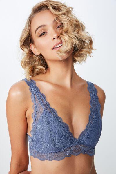 Cindy Longline Wirefree Bra, AIRY BLUE