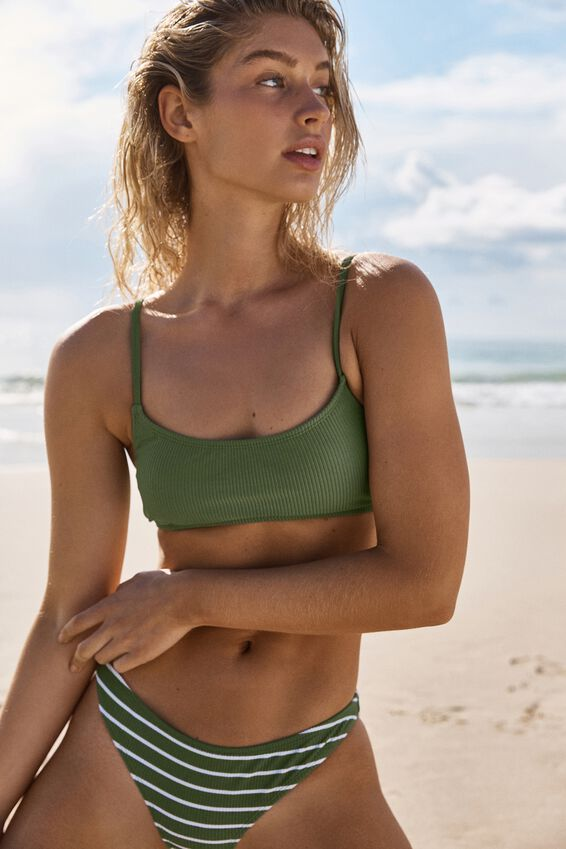 Scoop Crop Bralette Bikini Top, COOL AVOCADO RIB