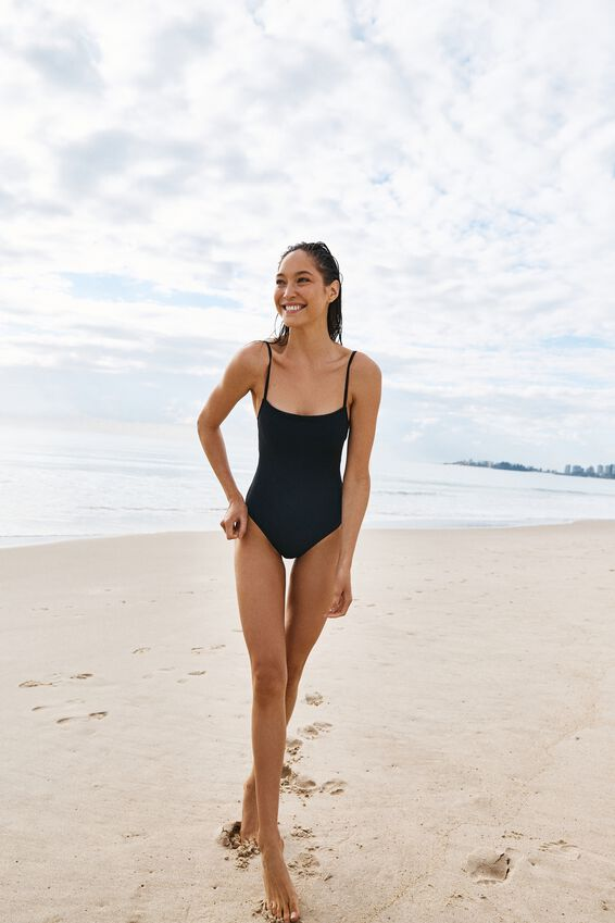Straight Neck One Piece Cheeky, BLACK