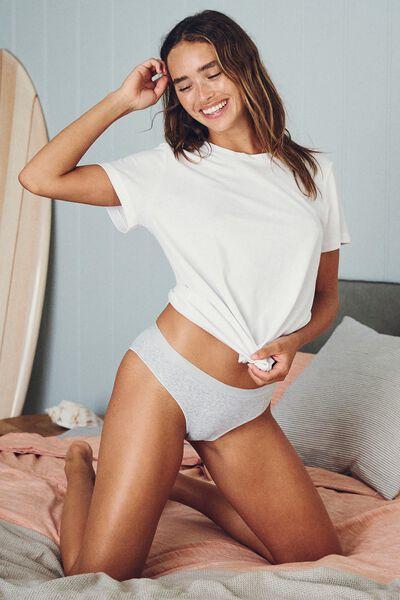 Cotton Rib Bikini Brief, GREY MARLE