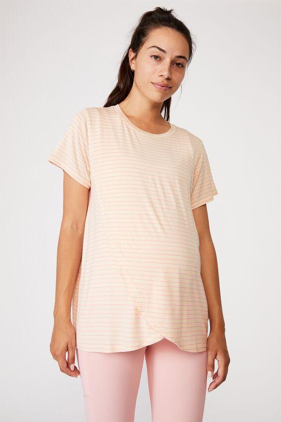 Sleep Recovery Maternity T Shirt, SLENDER STRIPE BUTTERMILK