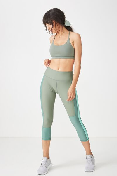 Colour Blocked Crop Tight, GREEN TEA / FERN GREEN